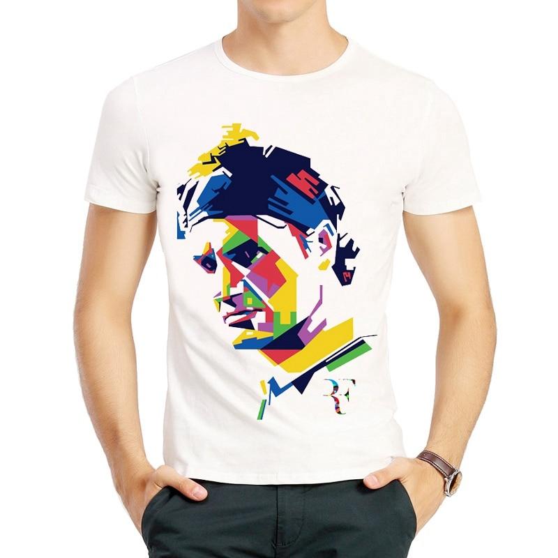 Roger Federer   T  -  Shirt   Fashion Short Sleeve White Cartoon Roger Federer   T     shirt   tshirt Top Tees For Men & Women