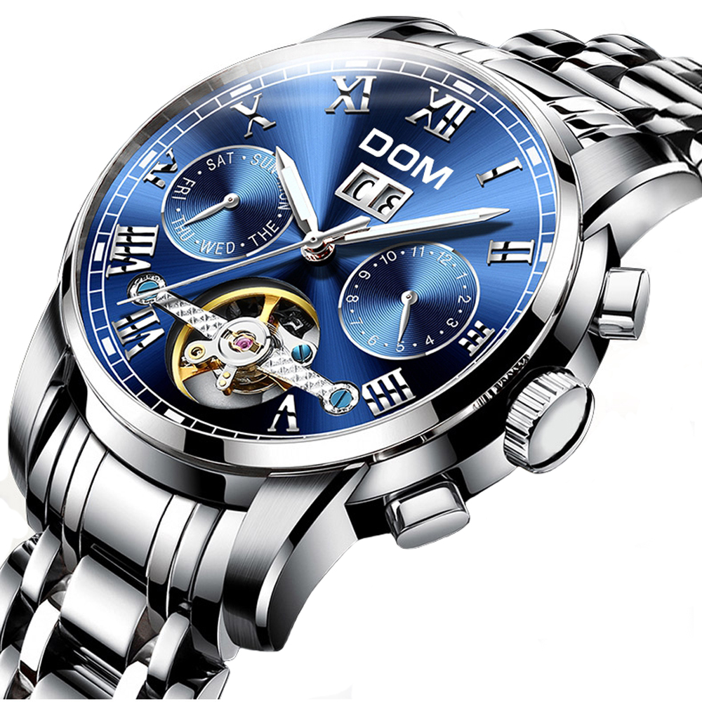 Automatic Watches Men Mechanical Self-Wind Full Steel Wristwatches Waterproof Military Sports Watch Luxury Business Relogio Man