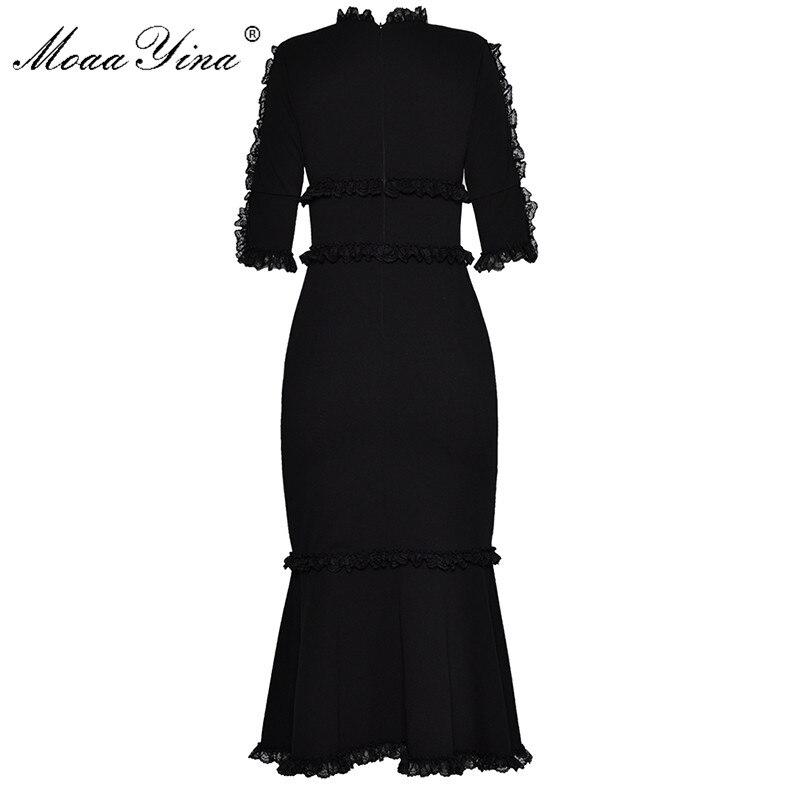 MoaaYina Mode Designer Runway Kleid Sommer Frauen V ausschnitt Halbe hülse Spitze Taste Schlank Paket hüfte Edle Elegante Fischschwanz Kleid-in Kleider aus Damenbekleidung bei  Gruppe 2