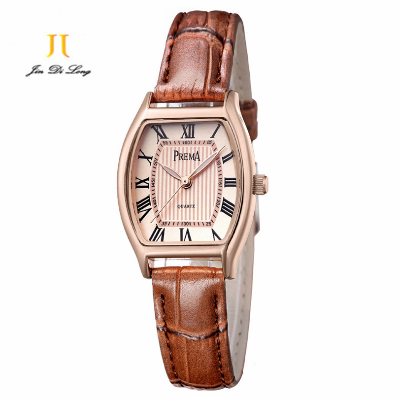 2018 PREMA Brand Fashion Women Watch Leather Analog Quartz New Red Dress Wrist watch Women Luxury Casual Gold Case Lady Watches fashion dress watch elegant crystal dial red faux leather band strap blink quartz analog casual lady women wrist watch stylish