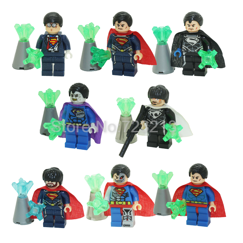 8pcs/lot JR266 Super Man Hero figure Building Blocks Sets Models Superman Bricks Toys for Children 8pcs lot movie super hero 2 avenger aochuang era kid baby toy figure building blocks sets model toys compatible with lego