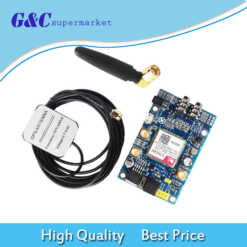 SIM808 Module GSM GPRS GPS Development Board IPX SMA with GPS Antenna for Raspberry Pi Support 2G 3G 4G SIM CardSIM808 Module GSM GPRS GPS Development Board IPX SMA with GPS Antenna for Raspberry Pi Support 2G 3G 4G SIM Card