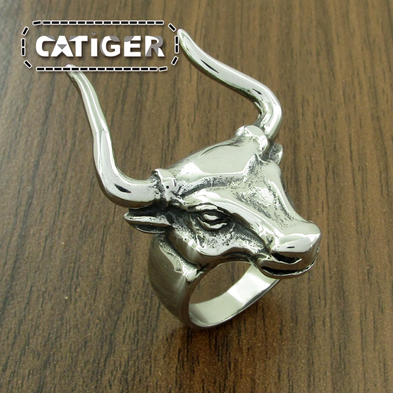 Classic Bull Horn Ring For Men High Quality Vintage