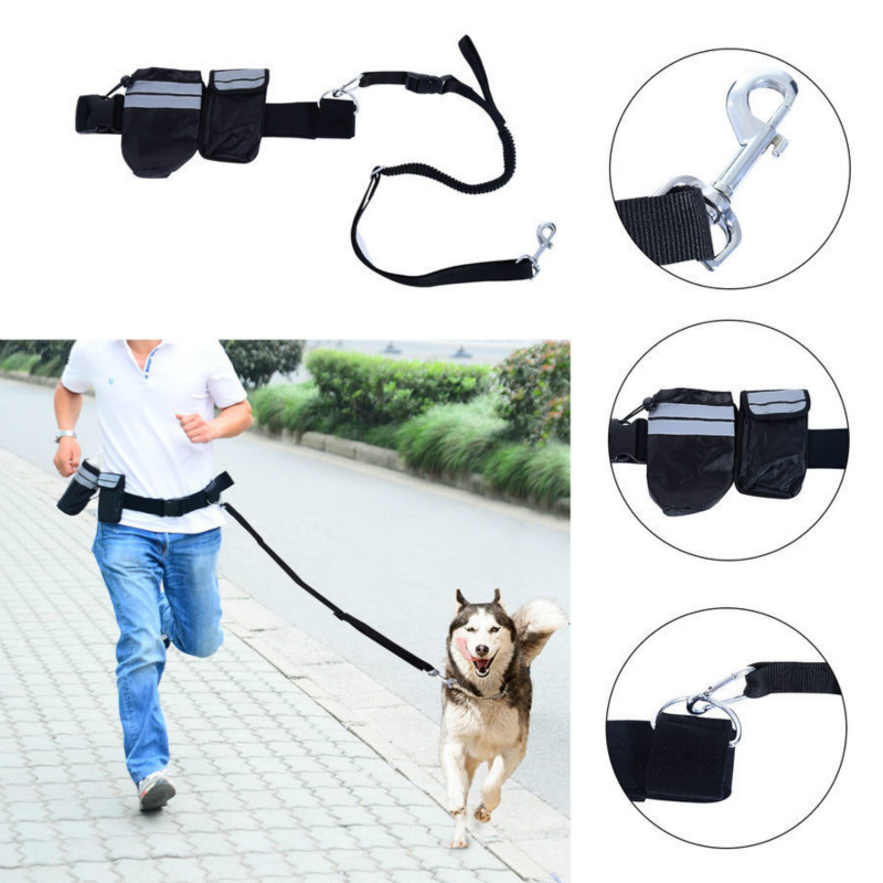 Dog Running Leashes Puppy Lead Collar with bag Sport Waist Leash French Bulldog Long Rope Dog Collar dog training Accessories