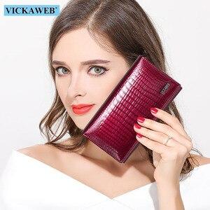 Image 1 - VICKAWEB cartera pequeña de piel auténtica de cocodrilo para mujer, monedero pequeño, monedero con cerrojo, a la moda