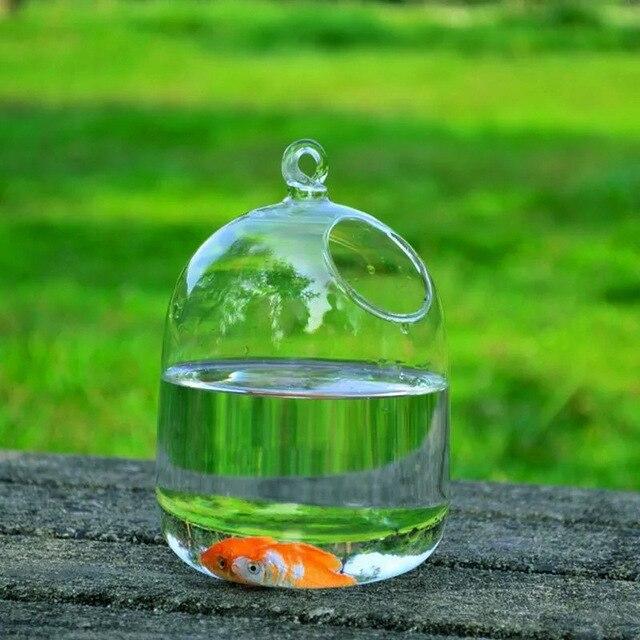 Clear 15cm Height Hanging Glass Aquarium Fish Bowl  5