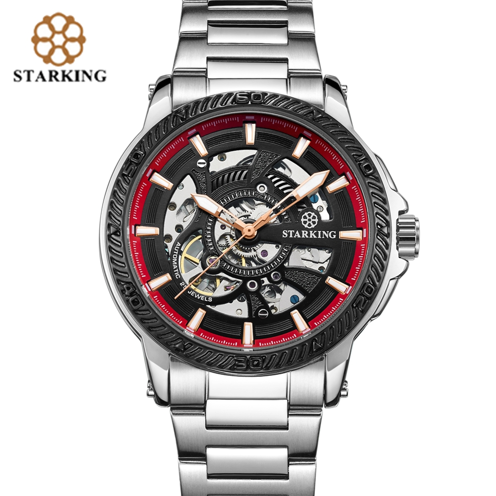 STARKING Business Automatic Men Watches Stylish Sport Mechanical Wrist Watch Stainless Steel Watch Band Punk Male Wristwatch цена и фото