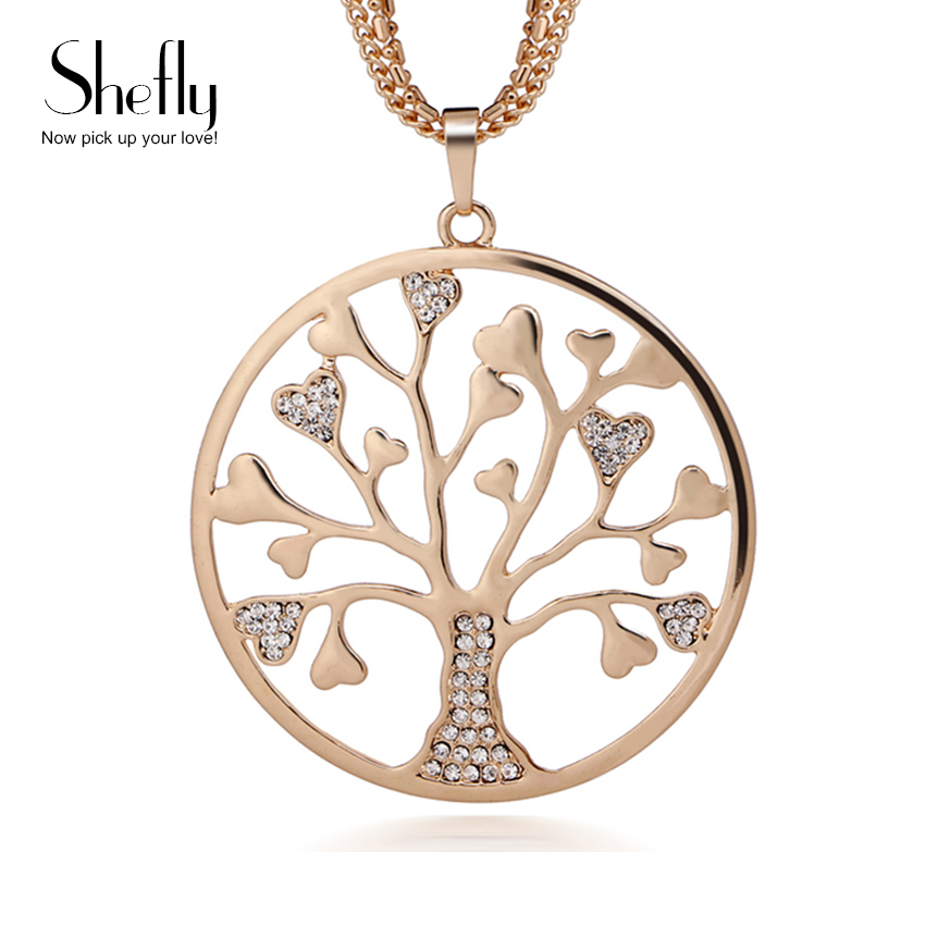 Tree Of Life Silver Gold Long Necklace for Women Vintage Crystal Multilayer Pendant Necklace Female Jewelry XL07498