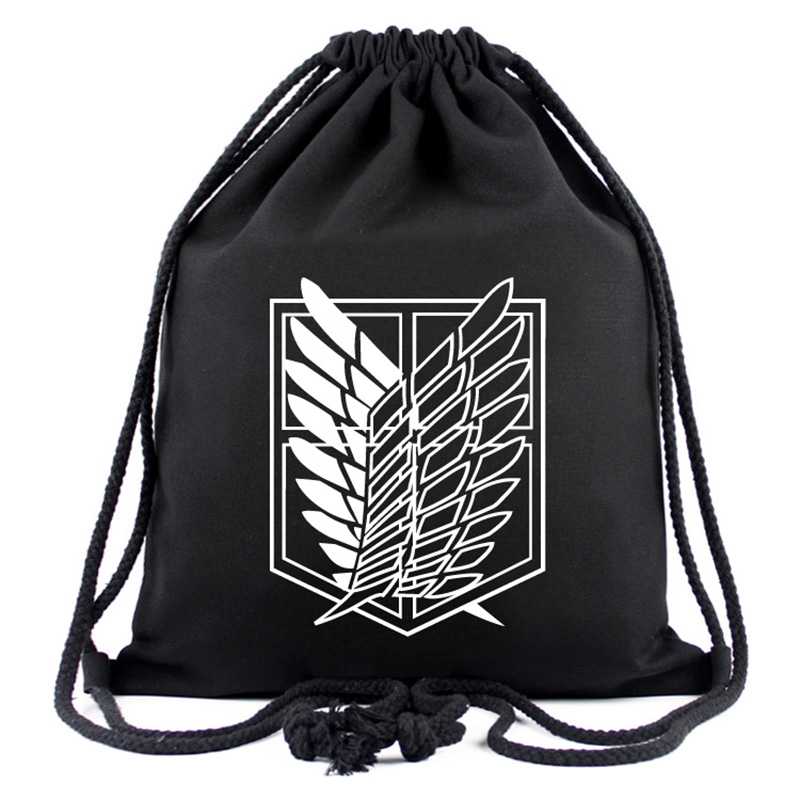 Games Movies Attack on Titan Backpack Japanese Anime Designer Canvas Drawstring Bags for Men Women Travel Organizer Pouch Gifts attack on titan freedom wings emblem printing korean japanese style school backpack anime backpacks ab197