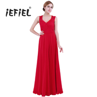IEFiEE Red Bridesmaid Dress Women Ladies Sleeveless Floral Lace V Neck Clothes Chiffon For Weeding Dresses
