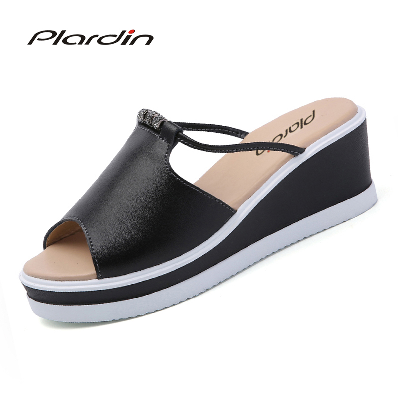 Plardin 2018 Bohemia Summer Casual Women's  Flat Platform Sandals Crystal Wedges Beach Sandals Shoes Woman plardin bohemia summer casual women wedges flat sandals platform 2018 woman ladies beach shoes flip flops genuine leather shoes
