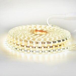 Image 3 - RGB LED şerit ışık kiti uzaktan kumanda ile kısılabilir yumuşak ışık LED bant su geçirmez AC220V SMD 5050 LED şerit esnek şerit