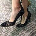 US 4-9 Trendy Sexy Ladies Black Lace High Heel Shoes Pointy Toe Thin Heel Night Club Heels Fashion OL Heels