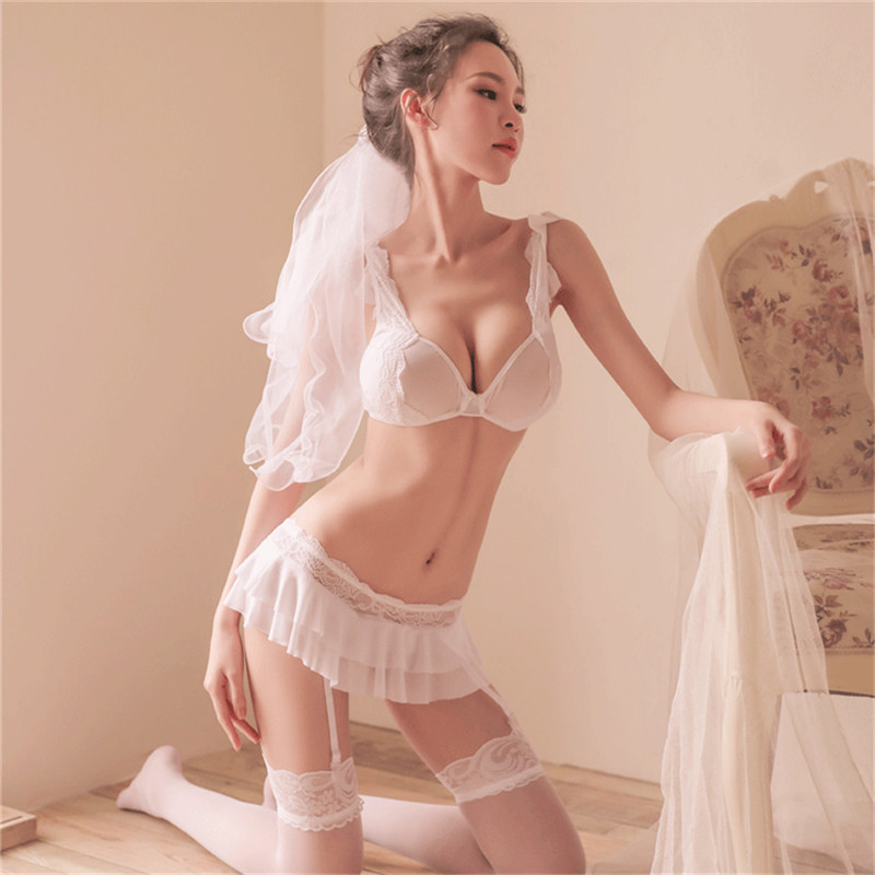 <font><b>Women</b></font> Erotic <font><b>Lingerie</b></font> Cosplay Bride Wedding <font><b>Dress</b></font> Uniform <font><b>Sexy</b></font> <font><b>Lingerie</b></font> Hot Erotic Porno <font><b>Babydoll</b></font> <font><b>White</b></font> Wedding <font><b>Lingerie</b></font> Costume image