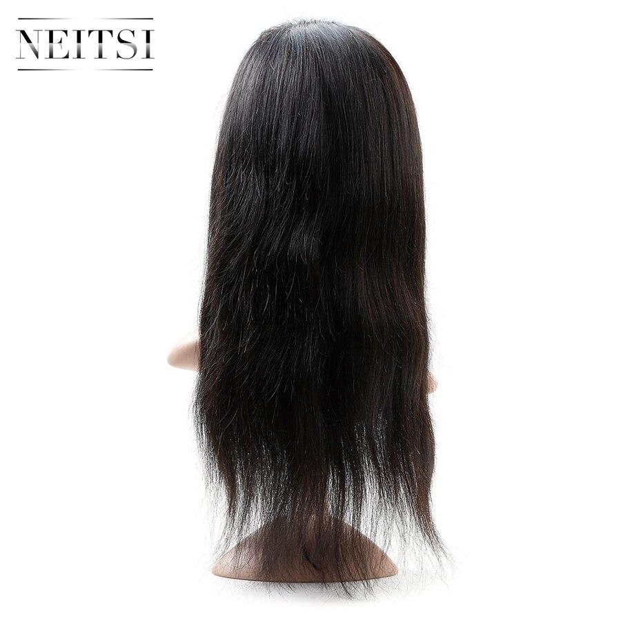 Neitsi droit pleine dentelle cheveux humains perruques 100% Remy cheveux environ 235g 18