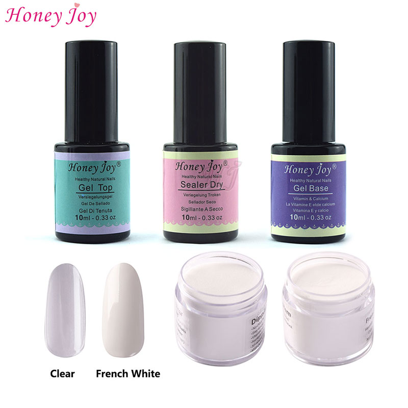 5-in-1 French Pink White Manicure Dipping Powder Tool Kits Set 28g/Box+10ml Base Top Sealer No Need LED/UV Lamp Cur