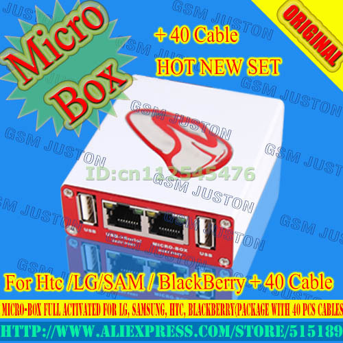 2016 nuevo 100% original caja micro micro-box activada completo para samsung para htc + bb + alcatel lgfor (paquete con 40 unids cables)