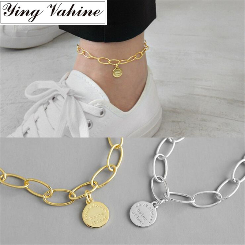 ying Vahine Foot Accessories 100% 925 Sterling Silver Anklets for Women Barefoot Bracelet Ankle on the Leg Female Ankle