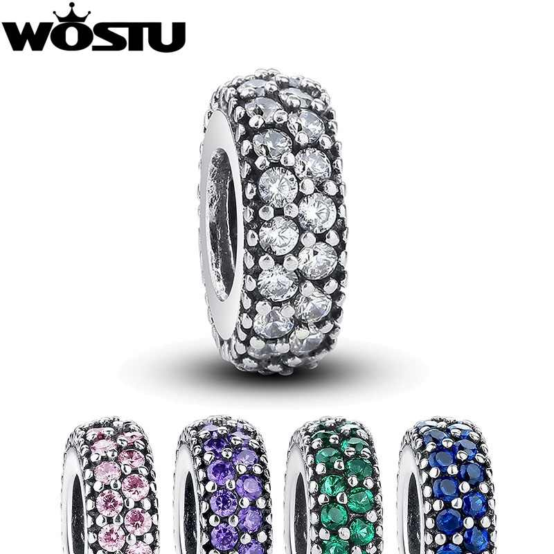 WOSTU 100% 925 Sterling Silver Inspiration Spacer Charm Beads Fit Original DIY Bracelet Pendant Authentic Jewelry Gift