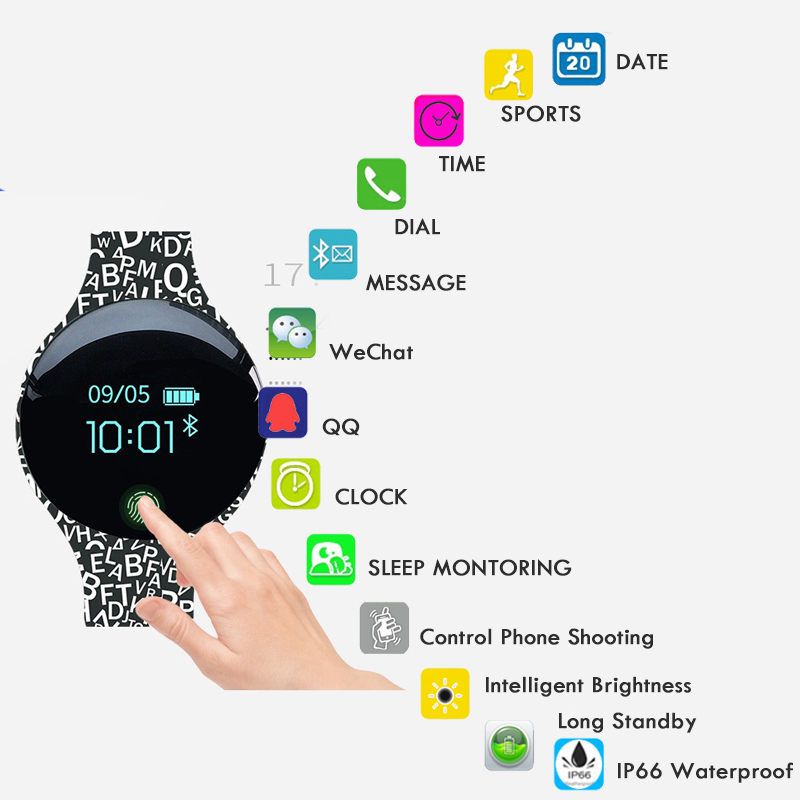 Color Touch Screen Smartwatch Motion Detection Smart Watch Sport Fitness Men Women Wearable Devices for IOS Android in Smart Watches from Consumer Electronics