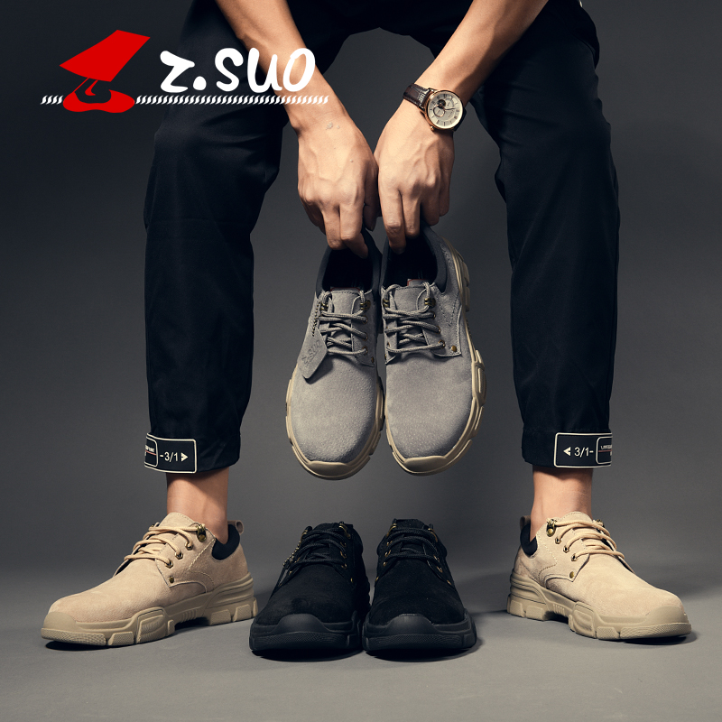 khaki Up Calidad Ocasionales Moda Black Suede Zs920 Superior Z Los Suo Hombres Cerdo Bajos Soft Populares Martin Zapatos Otoño Lace gray De Vintage qBgPzat