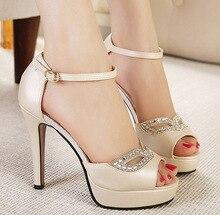 High Quality Fashion Rome Style Women Sandals Cover Heels Platform High Heels Sandals Luxcury Rhinstone Eye Lady's Shoes
