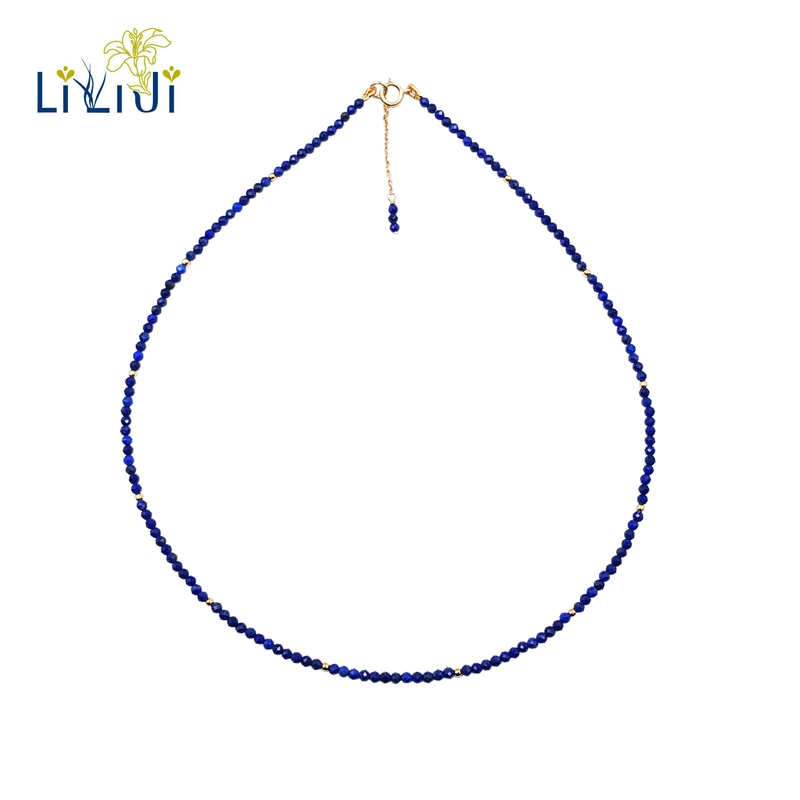 Lii Ji Natural Lapis Lazuli 2mm 925 sterling silver 18K Gold Color Choker Shining Necklace yh 925 sterling silver with natural lapis lazuli suits