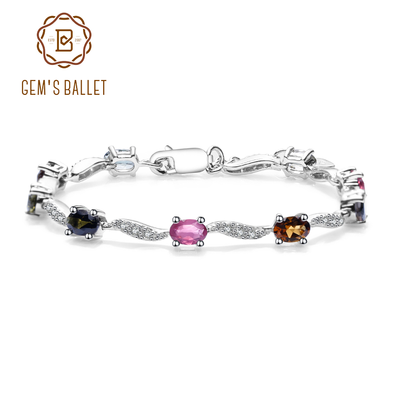 GEM'S BALLET Natural Tourmaline Bracelet Pure 100% 925 sterling silver Chain Link Bracelet For Women Luxury Fine Jewelry