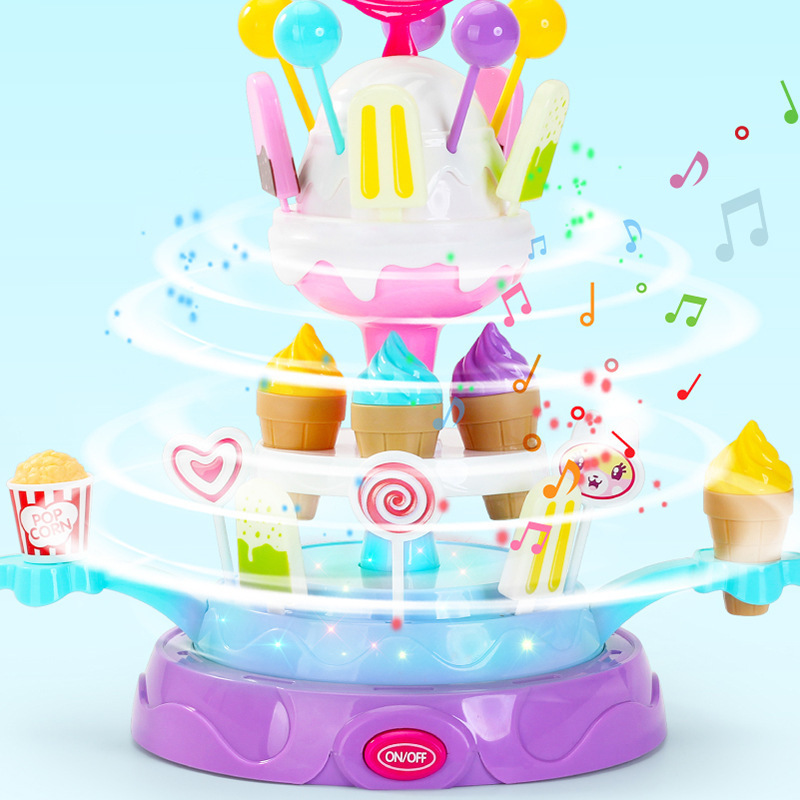 Pretend Play Toys Rotating With Music Lighting Ice Cream Candy For Children Kids Toys Funny Gift For Girls