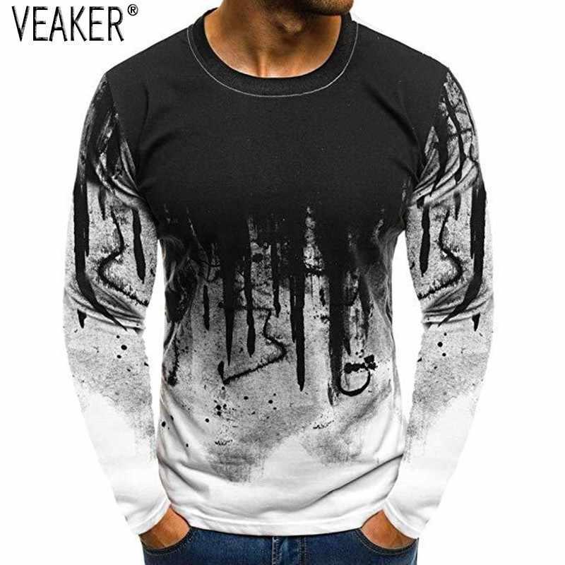 2018 новые мужские хип-хоп 3D печатные футболки мужские с круглым вырезом с длинным рукавом осенние высокие уличные футболки Slim Fit с длинным рукавом футболки M-3XL