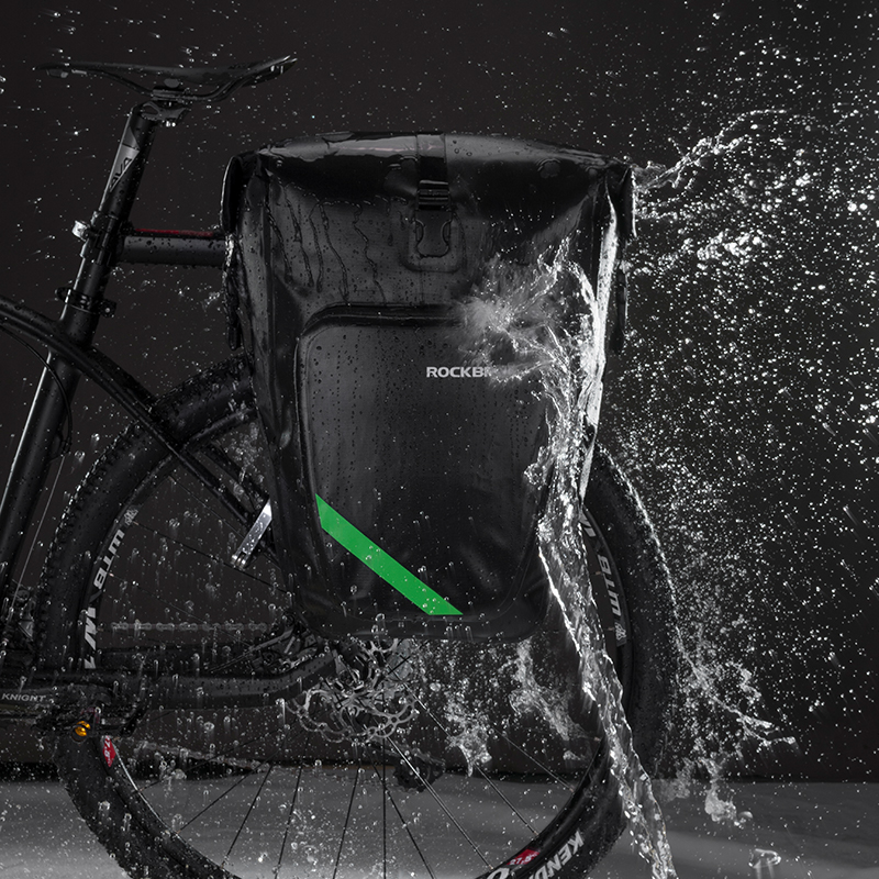 ROCKBROS Bicycle Bag Waterproof 27L Portable Bike Bag Pannier Rear Rack Tail Seat Trunk Cycling MTB Bag Riding Bike Accessories osah dry bag kayak fishing drifting waterproof bag bicycle bike rear bag waterproof mtb mountain road cycling rear seat tail bag