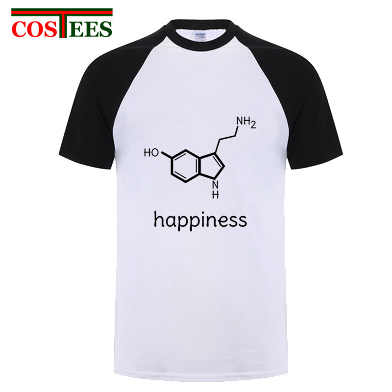 Funny happiness science chemistry formula T shirts physics biology romance lovers valentines daybiochemistry T-shirt casual Tees