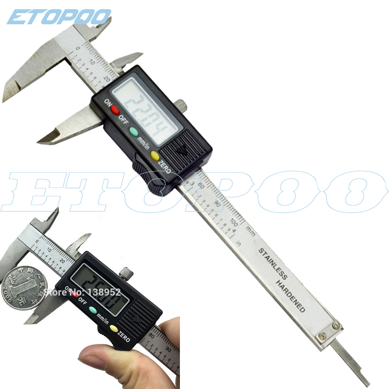 ETOPOO Stainless Steel Digital Caliper 0-100mm 4inch Mini Pocket Electronic Vernier Caliper Slider Caliper Gem Thickness Gauge