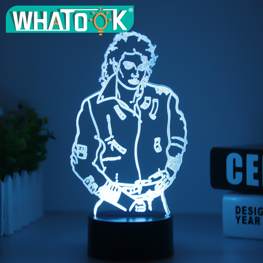 MJ Michael Jackson Sign 3D Illusion Lights Table Desk Lamp 7 Color Change Acrylic USB Led Children's Room Decor Night Light