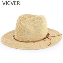 Newest Hollow Breathable Wide Brim Sun Hat Men Straw Panama Hats Casual Summer Beach Cap Solid Color Women Flat Jazz Caps