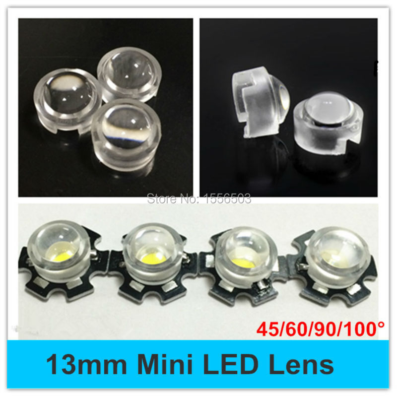 цена на 20pcs 15 30 45 60 90 100 Degree 13mm Mini LED PCB Angle Lens for IR CCTV LED PCB Convex Lenses With Holder 1W 3W High Power Lens
