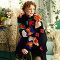LYNETTE'S CHINOISERIE bordado patchwork de lã chromophous moda bonito térmica outerwear sobretudo preto
