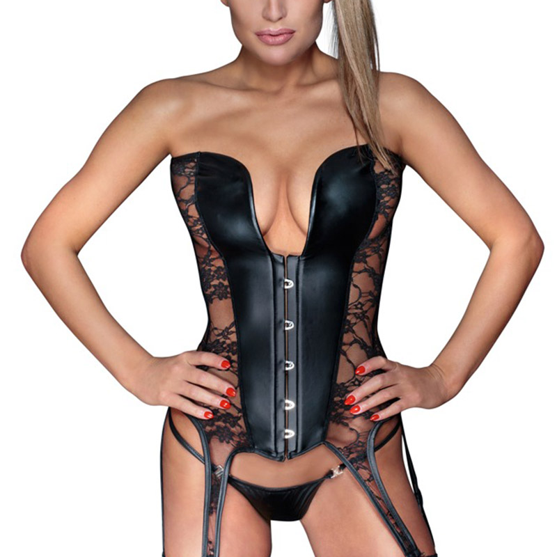 8867e4e5081 Steampunk Lace Overbust Corset Sexy Gothic Women Corset Top Bustier Black  Wet look Vinyl Leather Lingerie