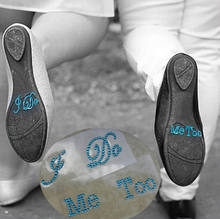 Sweet Creative Stickers Wedding Bride I Do Me Too He's Mine She's Mine Set Wedding Rhinestone Shoes Stickers(China)