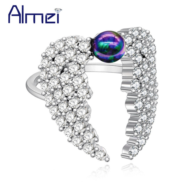 Almei Costume Jewelry Rings For Women Rainbow Wing Engagement Ring Female New Year Gifts Fashion