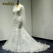 cdf4dc03678d9 Wuzhiyi Robe De Mariage Uzun mermaid düğün elbise 2018 Cap Kollu Dantel  Gelin Elbise Sccop vestido de noiva Gelin için düğün