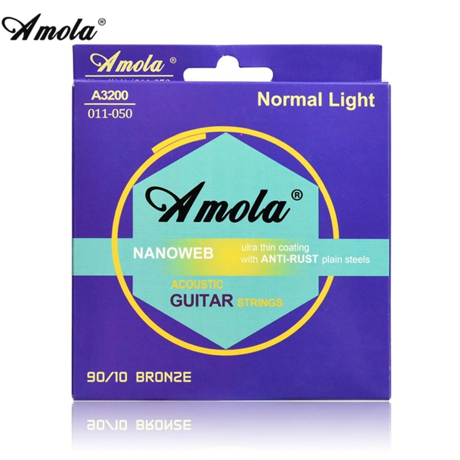 Amola Wound Acoustic Guitar Strings Set 011 010 012 Nanowen  Phosphor Coating Wound Acoustic Guitar Strings 6strings/set