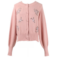 GRUIICEEN Floral embroidery knitting sweater coat round neck office lady sweater cardigan GY2018603