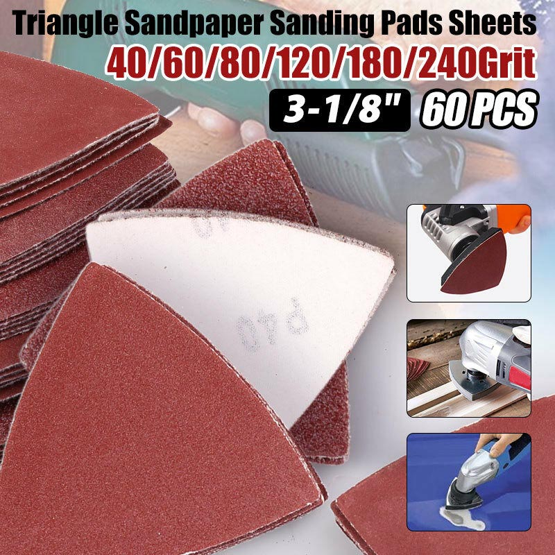 60x Sandpaper Triangle Sanding Pads Hook And Loop Assorted Sandpaper For Oscillating Multitool 40/60/80/120/180/240 Grit