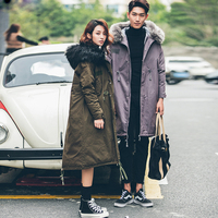 His And Hers Thicken Jacket Coat Hooded Big Fur Collar Fashion Parkas Men Women Winter Warm