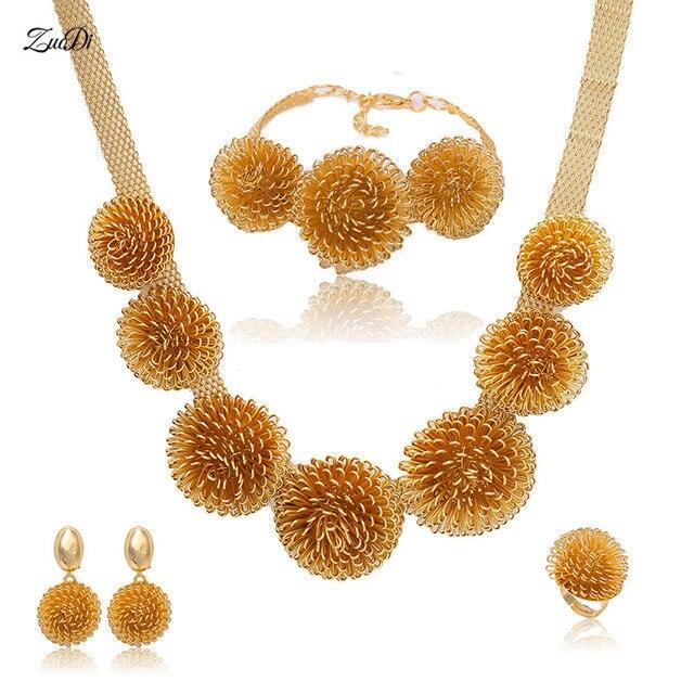 3ad0cb7fea29 Zuodi 2018 Cuentas joyería al por mayor oro color nupcial nigeriana joyería  de cristal conjunto de diseño del cliente