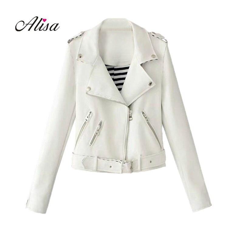 Ladies   Leather   Jackets 2018 New Spring Autumn Slim White Bikers Short Coats Women Black Punk Pvs Coat Female Pink Moto Jacket