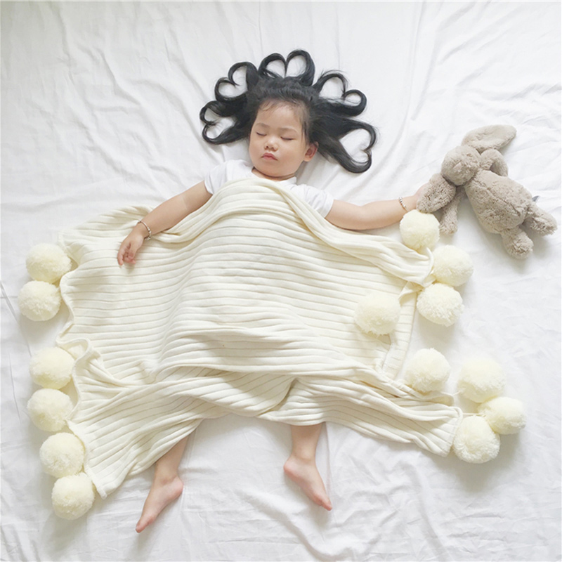 Knitted Baby Blanket For Newborns Winter Cotton Swaddle Warp With Wool Ball Children Products Kids Bath Towel Photography Props