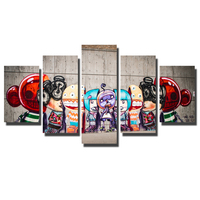 5 Pieces Banksy Art Lovely Cartoon Character Canvas Prints Modern Wall Art Pictures For Kids Room