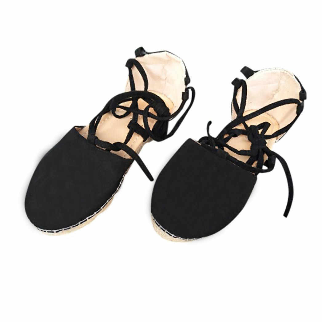 8b50ee18be ... 2018 Womens Ladies Flat Lace Up Espadrilles Summer Chunky Holiday  Sandals Shoes flat sandals bohemian ...